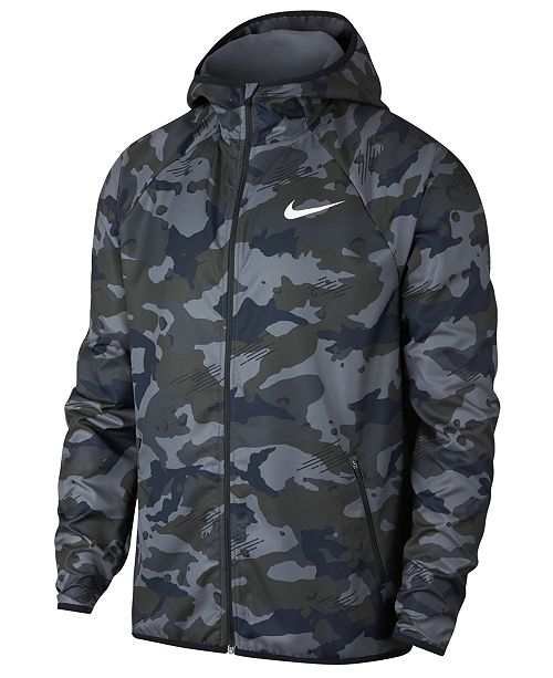 47b60d75bf20 Nike Men s Woven Camo-Print Training Jacket   Reviews - Coats ...