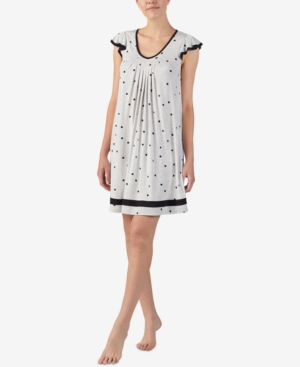 Ellen Tracy Yours To Love Short Sleeve Nightgown In Grey Dots