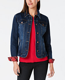 Charter Club Plaid-Cuff Denim Jacket, Created for Macy's