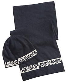 Armani Exchange Men's Logo Beanie & Scarf Set