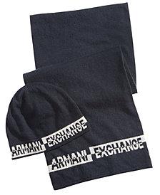 Armani Exchange Men's Logo Beanie & Scarf Set