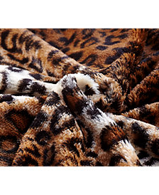 Subtle Striped Faux Fur Throw Blanket (Leopard)
