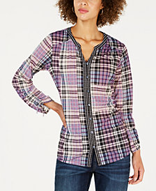 Style & Co Plaid Split-Neck Shirt, Created for Macy's