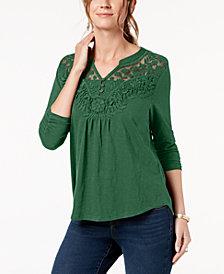 Style & Co Plus Size Crochet-Bib Split-Neck Top, Created for Macy's