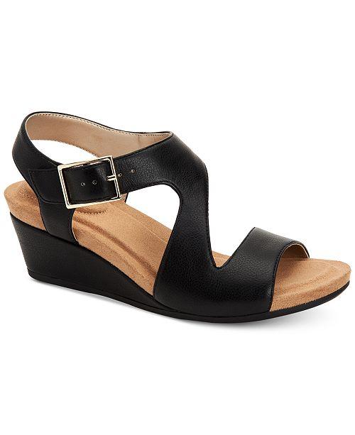 Giani Bernini Belinaa Memory Foam Wedge Sandals, Created for Macy's