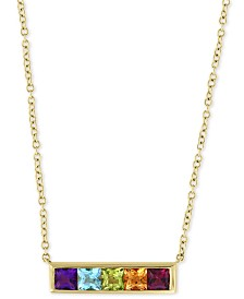 "EFFY® Multi-Gemstone Horizontal Bar 18"" Pendant Necklace (1-1/4 ct. t.w.) in 14k Gold"