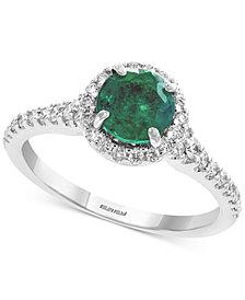 Gemstone Bridal by EFFY® Emerald (1 ct. t.w.) & Diamond (1/3 ct. t.w.) Ring in 18k White Gold