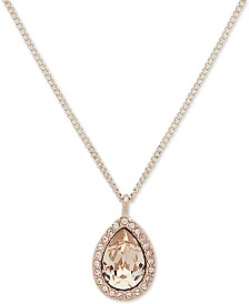 "Givenchy Gold-Tone Crystal Pendant Necklace, 16"" + 3"" extender"