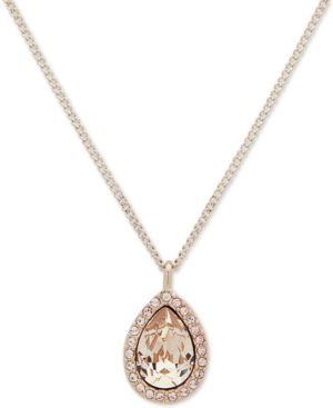 """Gold-Tone Crystal Pendant Necklace, 16"""" + 3"""" Extender"""