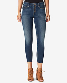 Jessica Simpson Juniors' Kiss Me Button-Fly Ankle Skinny Jeans