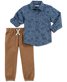 Kids Headquarters Baby Boys 2-Pc. Cotton Truck-Print Shirt & Twill Jogger Pants Set