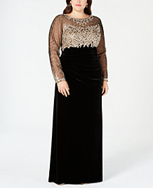 Xscape Plus Size Embroidered Velvet Illusion Gown