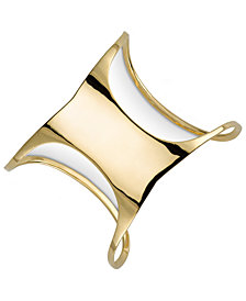 Sarah Chloe Polished Concave Cuff Bracelet in 14k Gold-Plated Sterling Silver