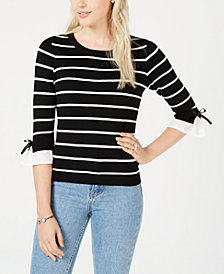 Maison Jules Striped Bow-Trim Sweater, Created for Macy's