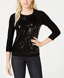 Maison Jules Sequin-Embellished Baseball Sweater, Created for Macy's