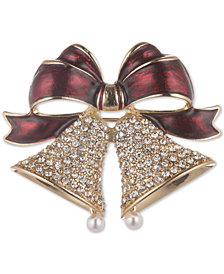 Anne Klein Gold-Tone Imitation Pearl & Crystal Ribbon & Bells Pin, Created for Macy's