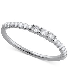 Diamond Textured Three-Stone Band (1/10 ct. t.w.)