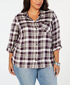 Style & Co Plus Size Plaid Shirt, Created for Macy's