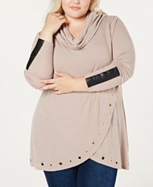 Belldini Plus Size Embellished Cowl-Neck Top