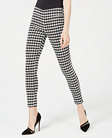 Bar III Houndstooth-Print Skinny Pants, Created for Macy's