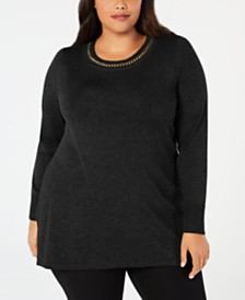 JM Collection Plus Size Chain-Detail Tunic Sweater, Created for Macy's