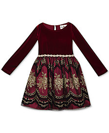 Rare Editions Baby Girls Velvet & Flocked-Mesh Dress