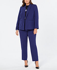 Nine West Plus Size Shawl-Collar Blazer, Floral-Print Shell & Stretch Pants