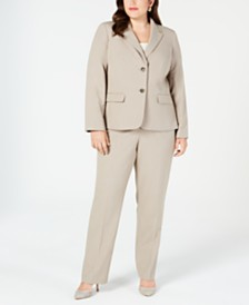 Nine West Plus Size Crepe Two-Button Jacket & Straight-Leg Pants
