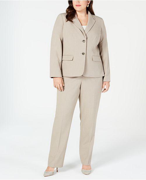 Nine West Plus Size Crepe Two-Button Jacket & Straight-Leg Pants