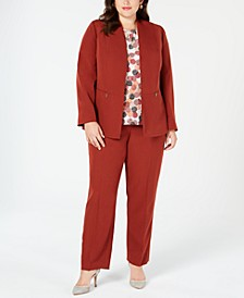 Plus Size Flyaway Jacket, Printed Shell & Straight-Leg Pants