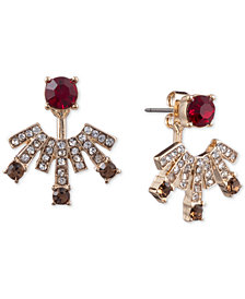 Anne Klein Gold-Tone Stone & Crystal Front & Back Earrings