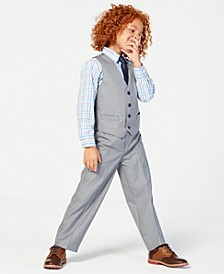 3-Pc. Sharkskin Vest, Shirt & Pants Set, Little Boys