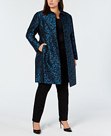Anne Klein Plus Size Jacquard Snap-Front Coat