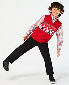 TFW Little Boys 3-Pc. Trees Sweater Vest, Shirt & Pants Set