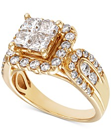 Diamond Princess Cluster Engagement Ring (2 ct. t.w.) in 14k Gold