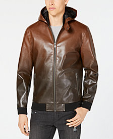 I.N.C. Men's Faux Leather Hooded Jacket, Created for Macy's