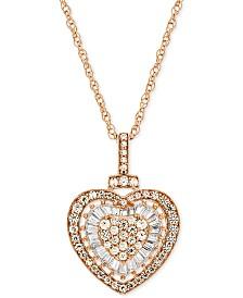 "Diamond Heart 18"" Pendant Necklace (1/2 ct. t.w.)"