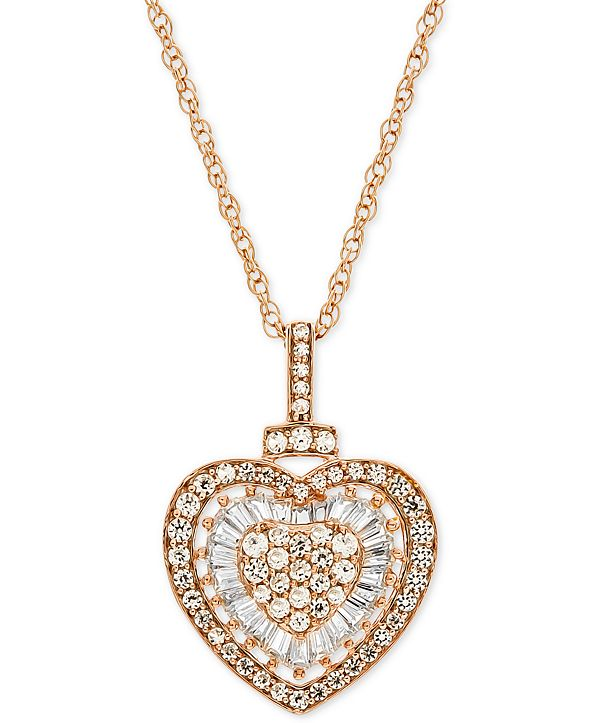 """Macy's Diamond Heart 18"""" Pendant Necklace (1/2 ct. t.w.)  in 14k Rose Gold (Also Available in White Gold)"""
