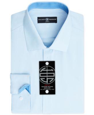 Men's Slim-Fit Non-Iron Performance Solid Dress Shirt