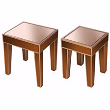 Wooden Accent Side Tables With Mirrored Top, Set of 2, Brown