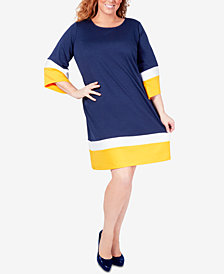 NY Collection Plus Size Colorblocked A-Line Dress
