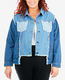 NY Collection Plus Size Cotton Multi-Wash Denim Jacket