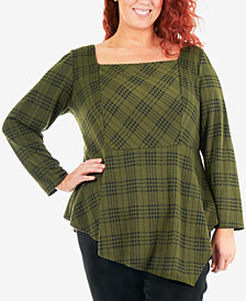 NY Collection Plus Size Plaid Asymmetrical Ponté-Knit Top