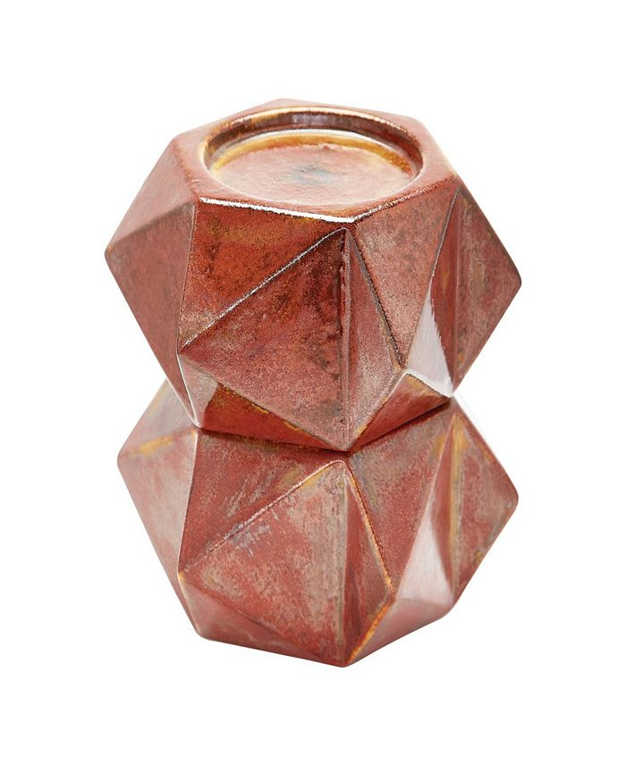 Dimond Home - Large Ceramic Star Candle Holders - Russett. Set of 2