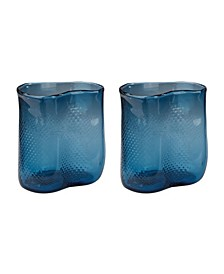 Navy Fish Net Glass Vase - Set of 2