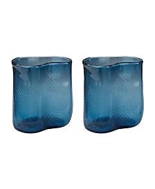 Navy Fish Net Glass Vase - Set of 2