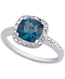 London Blue Topaz (1-5/8 ct. t.w.) & Diamond Accent Ring in Sterling Silver