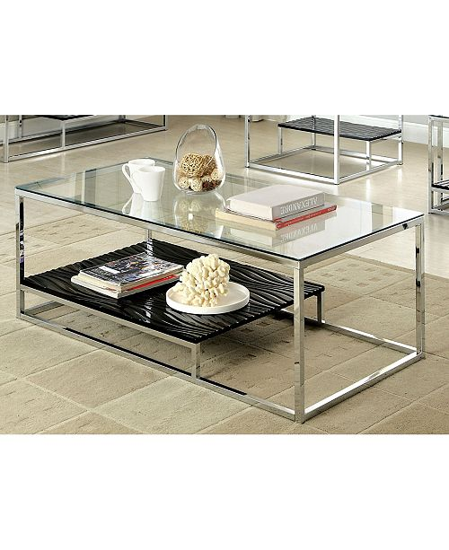 Furniture of America Nadia Glass Top Coffee Table