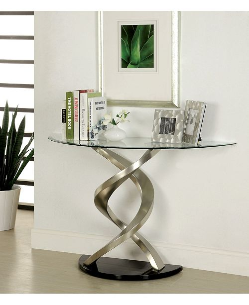 Furniture of America Marisa Glass Top Console Table