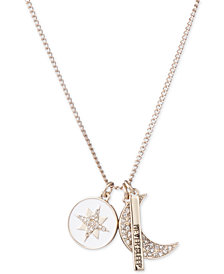 "DKNY Gold-Tone Triple Charm Crystal ""Never Sleep"" Pendant Necklace, 16"" + 3"" extender, Created for Macy's"